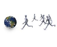 People running. 3d people are fast running towards earth Stock Photography