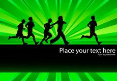 People running background with green burst Royalty Free Stock Image