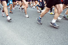People running in city marathon on Royalty Free Stock Photos