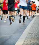 People running in city marathon Royalty Free Stock Images