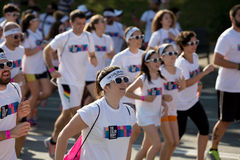 People running at The Color Run, Royalty Free Stock Photography