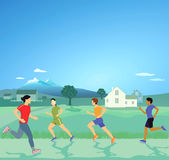 People running in the countryside Stock Images