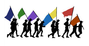 People running with flags. 11 persons men and women runnig together and carrying few flags in colors of a rainbow Royalty Free Stock Images