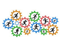 People running gears Royalty Free Stock Image