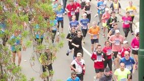 People running at half Marathon event stock video