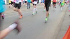 People running at half Marathon event stock footage