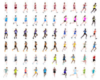 60 people running illustrations. Big collection of running people illustrations Stock Photos