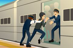 People Running Late at Train Station Illustration royalty free stock photography
