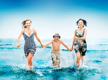People running at ocean Royalty Free Stock Photo