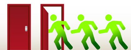 People running into an open door Royalty Free Stock Photography