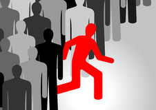 People running out from the crowd. Running people in vector. One person stands out from the crowd Royalty Free Stock Image