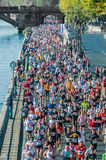 People running paris marathon france Royalty Free Stock Photo