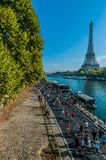 People running paris marathon france Royalty Free Stock Photo