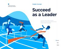 People running on the stadium to win and succeed. Bussines and Leadership. Flat vector illustration. Landing page and. People running on the stadium to win and vector illustration