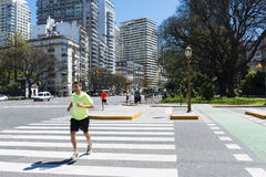 People running in a street in the city of Buenos Aires, in Argentina Stock Photography