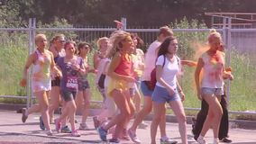 People running to marathon in the summer the park stock video