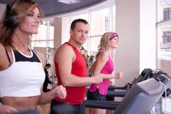 People  running on treadmill Royalty Free Stock Photography