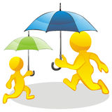 People running with umbrellas Stock Image