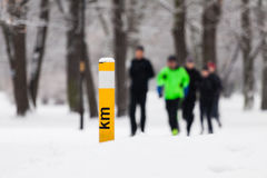 People running in winter park Stock Photo