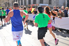 People running in the Zurich Barcelona Marathon through the streets of the city Royalty Free Stock Photography