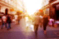 People rush on the street. Blur background, defocused. Morning mood Royalty Free Stock Photography