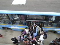 People rush to get in a bus Royalty Free Stock Photo
