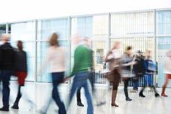 People Rushing through Corridor, Motion Blur Royalty Free Stock Photo