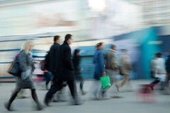 People rushing to work stock image