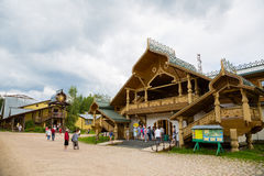 People of the russian tourist center Verhnie Mandrogi Stock Image