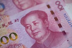 The People`s Bank of China 100 yuan currency, economy, RMB, finance, investment, interest rate, exchange rate, government,. Capital royalty free stock photo