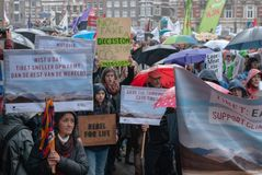 People`s Climate March Amsterdam royalty free stock photo