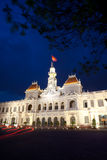 People's Committee building in Saigon. The People's Committee building, also named Hotel de Ville, located in Saigon, Ho Chi Minh city, in dusk Royalty Free Stock Photography