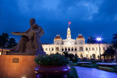 People's Committee building in Saigon, Vietnam. The People's Committee building, also named Hotel de Ville, located in Saigon, Ho Chi Minh city, in dusk Royalty Free Stock Photo