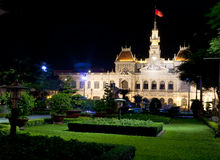 People's Committee Building in Vietnam. The People's Committee Building by night as seen from across the small garden in front Royalty Free Stock Image