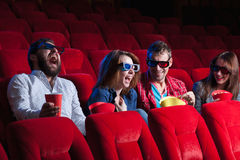 The people's emotions in the cinema stock photos