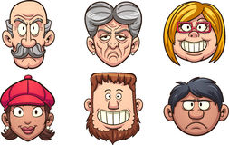 People`s faces. Cartoon people`s faces. Vector clip art illustration with simple gradients. Each on a separate layer royalty free illustration