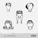 People's faces. User Avatar Icons. People's faces. Vector illustration. Set of men and women. Vintage image. Eps 8 Royalty Free Stock Image