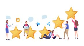 People`s giving five star rating via website application. User feedback review scroll. Social media. Cartoon illustration vector. People`s giving five star royalty free illustration