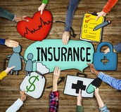 People's Hands Holding Insurance Text and Symbols Stock Photo