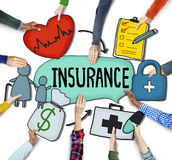 People's Hands Holding Insurance Text and Symbols Royalty Free Stock Photos