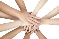People's hands together Stock Images