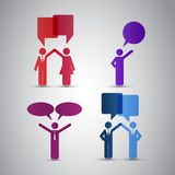 Peoples Icons with Speech Bubbles Royalty Free Stock Images