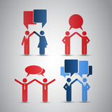 People's Icons with Speech Bubbles Stock Images