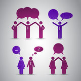 People's Icons with Speech Bubbles Stock Photo