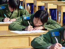 The people's liberation army air force women to carry on the test in the playground Royalty Free Stock Image
