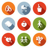 People's lives flat icons set Stock Image
