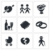 People's lives icons set Stock Photography
