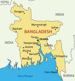 Peoples Republic of Bangladesh - vector map Royalty Free Stock Photos
