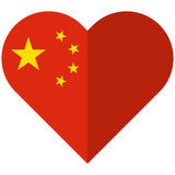 People`s Republic of China flat heart flag Stock Photos