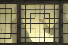 Peoples shadow on windows. Maozedong and huangyanpei in conversation in 1945 Royalty Free Stock Photos